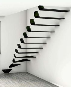 Wing Flying Stairs - Stairways are substantial architectural features that consume space and often bring great weight to the lower level. The Wing Flying Stairs are ver. Stairs And Staircase, Entry Stairs, Building Stairs, House Stairs, Staircase Design, Stair Design, Architecture Details, Interior Architecture, Stair Steps