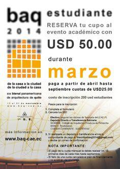 Aprovechen nuestra nueva oferta!!! Por el mes de Marzo estudiantes reserven su cupo para ser parte de la BAQ2014. Sigue cada uno de los pasos expuestos. No desaproveches esta oportunidad...