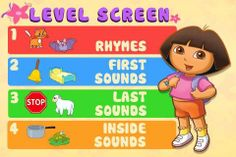 Dora ABCs Vol Rhyming Words - four activities for matching sounds for kids by Nickelodeon. Teaching Kindergarten, Teaching Tools, Teaching Ideas, Rhyming Word Game, Learning Apps, Phonological Awareness, Fun Games For Kids, Literacy, Education