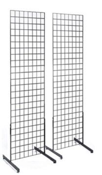 2' x 6' Gridwall Panel Tower with T-Base Floorstanding Display Kit, 2-Pack. Matte Black