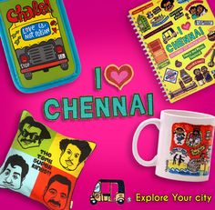 """#Vanakkam!! Let's express our love the the to the beautiful #city of #Indian hand loom art, the ever famous #south Indian food & #folk #dance, & of course how can we forget the home of #Rajnikant the great. With these #beautiful & #quirky product that say """"I #love #Chennai"""" available at #Giftease."""