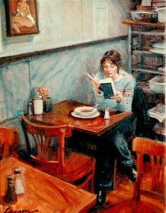 Woman Reading in Cafe painting art #readers #art #literary