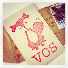 Birth announcement card of my son Vos. Stamp made by de krantenkapper