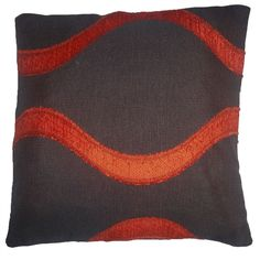 Quality Chocolate & Orange Wave Pattern Woven Tapestry Fabric Cushion Cover
