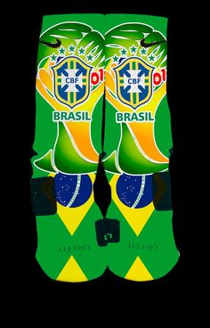 NEW World Cup 2014 Inspired Custom Nike Elites Brasil Edition — Luxury Elites Nike Socks, Nike Elite Socks, Nike Elites, Nike Gear, Custom Socks, World Cup 2014, Cool Socks, Sock Shoes, Fifa