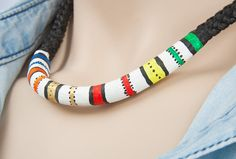 Final Result Detail View - Jewelry DIY Tutorial: Polymer Clay (Fimo)  Necklace in the Ethnic Style