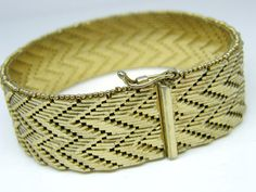 Decesare Italy Bracelet Gold Plate Mesh Wide by DianasChicBoutique