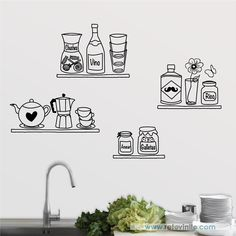 Cocinas - Estanterías dibujadas a mano -  #retovinilo #vinilosdecorativos #vinilos #cocinas #estantes Doodle Wall, Doodle Art Drawing, Wall Drawing, Paint For Kitchen Walls, Kitchen Wall Decals, Mural Art, Wall Murals, Office Wallpaper, Wall Painting Decor
