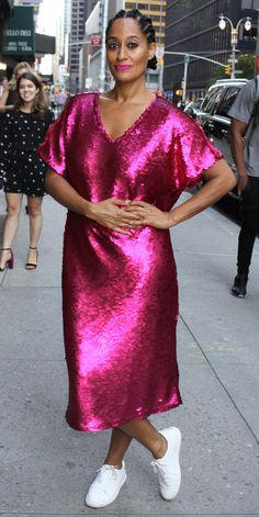 729c19fd29a3 This woman can NOT dress herself! Looks like a sequined bathrobe Pink  Sequin Dress