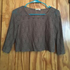 CROCHETED CROP TOP Brown crocheted crop top! Front of shirt is lined (inside of shirt as seen in pic above) Lovely Tops Crop Tops