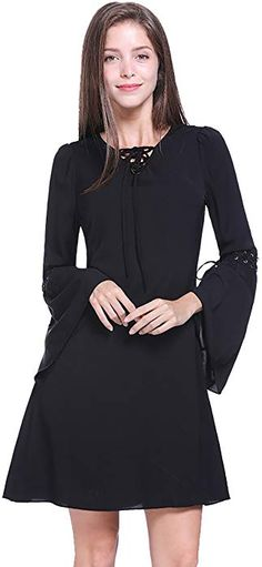 Fancyqube Women s Casual Criss Cross Bandage V Neck Long Patchwork Bell Sleeve  Shirt Dress Black S ee33ae47c
