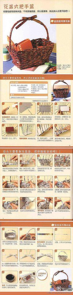 Handmade [the old magazine DIY baskets tutorial]. Recycle Newspaper, Newspaper Basket, Newspaper Crafts, Willow Weaving, Basket Weaving, Paper Flowers Diy, Diy Paper, Kraft Paper, Quilling