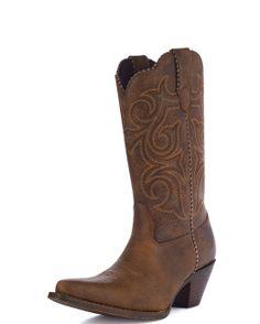 Durango Women's Crush Scall-Upped Western Boot - Distressed Brown