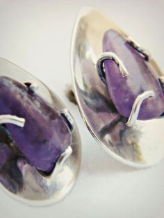 Sterling Silver Amethyst Earrings - Vintage / Mexico