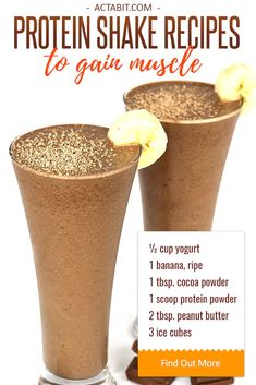 How to make easy fat burning protein shakes with peanut butter, Greek yogurt and whey protein powder. Healthy protein shake recipes to gain muscle for women and men.
