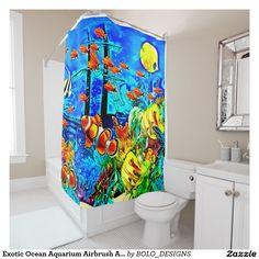 Exotic Ocean Aquarium Airbrush Art Custom Shower Curtain by BOLO Designs.