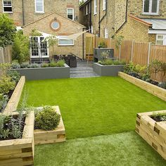 backyard design ideas garden sleepers raised garden beds ideas garden edging - All For Garden Terrace Garden Design, Back Garden Design, Patio Design, Rectangle Garden Design, Garden Design London, Courtyard Design, Garden Design Plans, Garden Seating, Bed Design