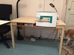 Ikea INGO To Sewing Table with Storage - IKEA Hackers - I really wanted a sewing table at a more ergonomic height. I searched the web and found a hack with - Ikea Sewing Rooms, Sewing Desk, Diy Sewing Table, Sewing Machine Tables, Sewing Room Storage, Sewing Cabinet, My Sewing Room, Craft Storage, Sewing Spaces
