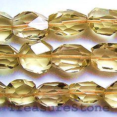 Bead, lemon quartz, 18mm faceted nugget. TreasureStone Beads Edmonton