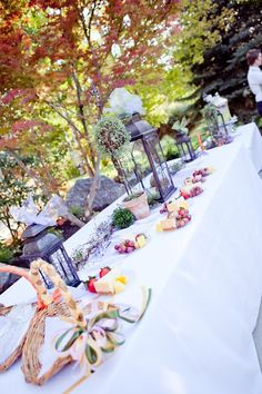 A lovely tablescape for a reception or other party. Our Fairy Tale: One Year