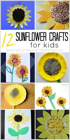 12 Sunflower Crafts for Kids - Fall Crafts For Kids Summer Crafts For Kids, Spring Crafts, Diy For Kids, Summer Kids, Harvest Crafts For Kids, Harvest Festival Crafts, Sunflower Crafts, Sunflower Art, Yellow Sunflower