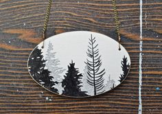 Treeline Vignette Necklace  hand painted black and by MeghannRader, Vancouver Island Etsy Team Member