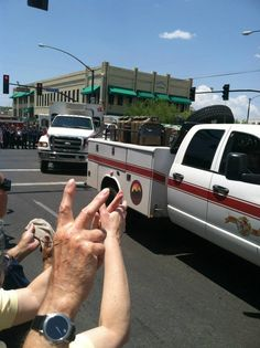 Procession of Hot Shots Vehicles.  The fallen firefighters' vehicles are currently being transported from the scene of the ‎YarnellFire to Station 7 in Prescott.