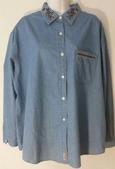 Woolrich Womens Shirt XL Cotton Blue Denim Long Sleeve Floral Trim Button  #Woolrich #ButtonDownShirt