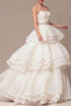 Beautiful empire waist wedding gown from Adorona. #wedding #gown #dress #bride http://www.adorona.com/empire-waist-strapless-organza-wedding-dress-w20303.html