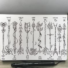 regram @_picolo Zodiac Arrows (complete set) PLEASE READ If you want to use any of these as a tattoo you have my permission and I would love to see it! Also I'm really out of time rn but I might still color them. :-) #zodiac #arrow #tattoo #tattoodesign #sketchbook #leuchtturm1917 #ink #drawing #illustration #art