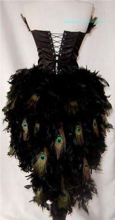 L~Custom Made Peacock Eye Feather Burlesque Mardi Gras Costume