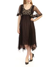 Loving this Nataya Black & Coco Empire-Waist Dress - Women & Plus