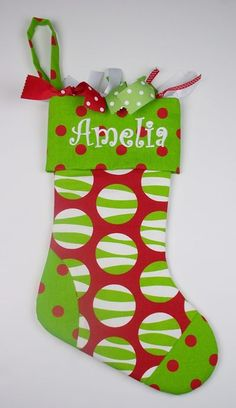 #EMD Christmas Stocking - Zebra Dots with Lime-n-Red Dots by PoshBabyStore.com