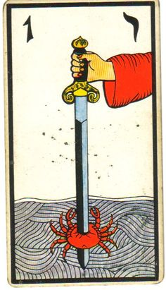 ace of swords tarot card... Wow! A really striking image of mind and rationality overcoming emotion.
