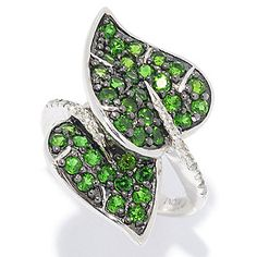 NYC II® 1.20ctw Chrome Diopside & White Zircon Double Leaf Ring
