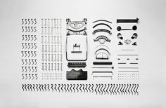 """Typewriter Deconstructed - not sure of creator but similar to art by Todd McLellan & his """"Things Come Apart""""  / """"Disassembly"""" series: http://www.toddmclellan.com/thingscomeapart 