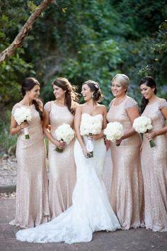 champagne bridesmaid Dress,long bridesmaid Dress,sequin bridesmaid dress,short sleeves bridesmaid dress,PD130