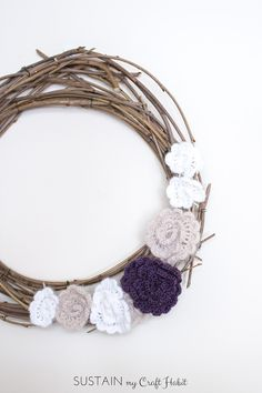 Make your own spring wreath for free using foraged branches and scrap yarn. Learn how to make this Mulberry Branch round wreath with crocheted flowers- the perfect decor for spring and summer! Crochet Puff Flower, Crochet Flower Patterns, Crochet Flowers, Crochet Ideas, Diy Spring Wreath, Diy Wreath, Wreaths, Wreath Ideas, Unique Crochet