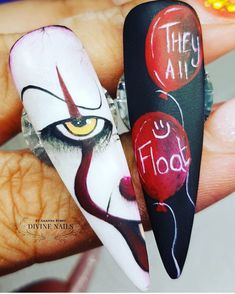 # N A I L S Nail designs by divine_nails_ you are so talented woman Im so glad you choose us to work with For all enquiries please directly message us get your Halloween nails booked in now to avoid disappointment Holloween Nails, Halloween Acrylic Nails, Halloween Nail Designs, Disney Halloween Nails, Gold Nail Designs, Pretty Nail Designs, Nail Art Cute, Scary Nails, Goth Nails