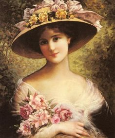 Emile Vernon The Fancy Bonnet painting, oil on canvas & frame; Emile Vernon The Fancy Bonnet is shipped worldwide, 60 days money back guarantee. Victorian Art, Victorian Women, Classic Paintings, Beautiful Paintings, Vernon, Beaux Arts Paris, Munier, Etiquette Vintage, Victorian Pictures
