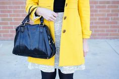 Yellow coat + ivory gray skirt | Style on Target