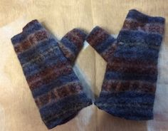 Blue brown thick wool Felted Fingerless by mcleodhandcraftgifts
