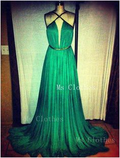Custom Made A-line Chiffon Green Prom Dress 2014