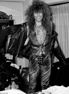 Jon Bon Jovi - super rare B&W pic of Jon rocking that 80's hair and fashion!