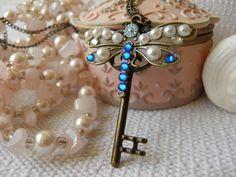 Steampunk Necklace/Skeleton Key/Vintage Style/Key Necklace /Key Pendant/Fantasy Necklace/Antique Bronze/Beaded Necklace/Butterfly Necklace