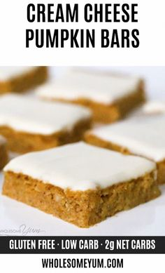 Low Carb Healthy Pumpkin Bars with Cream Cheese Frosting - This easy pumpkin bars recipe with canned pumpkin & cream cheese frosting is gluten-free & low carb, with healthy, natural ingredients. Just 10 min prep! Easy Pumpkin Bars, Healthy Pumpkin Bars, Canned Pumpkin Recipes, Banana Bread Recipes, Muffin Recipes, Sin Gluten, Gluten Free, Dairy Free, Sheet Cake Recipes