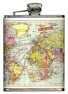 Map Hip Flask
