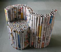 Rolled Newspaper chair: concentric rolls create chairs!