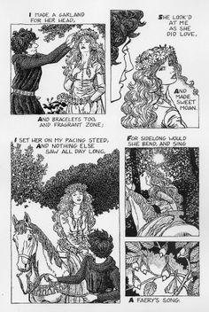 "Julian Peters The comic-book adaptation of the poem ""La Belle Dame Sans Merci"" by John Keats Star Children, John Keats, Literary Quotes, Chivalry, My Journal, Fairy Tales, Folk, Comic Books, Romantic"