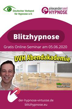 Blitzhypnose Online Seminar gratis mit Alexander Seel in der DVH Abendakademie. Thema: Blitzhypnose! Schnelle Induktionen können eine nahezu unglaubliche Wirkkraft entfalten. An diesem Abend erfahren Sie, was sich hinter Blitzhypnose verbirgt und Alexander Seel beschreibt seine persönliche Herangehensweise an die Blitzhypnose. Blitzhypnose wird eingesetzt in: Hypnosetherapie, Showhypnose, Straßenhypnose. #blitzhypnose #schnellhypnose #hypnose #showhypnose #straßenhypnose #alexanderseel Blitz, Coaching, Memes, New Gadgets, Themed Dinner Parties, Holistic Practitioner, Mental Health Therapy, Further Education, Training
